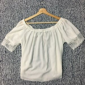 NWT - Boohoo Off the Shoulder White Blouse